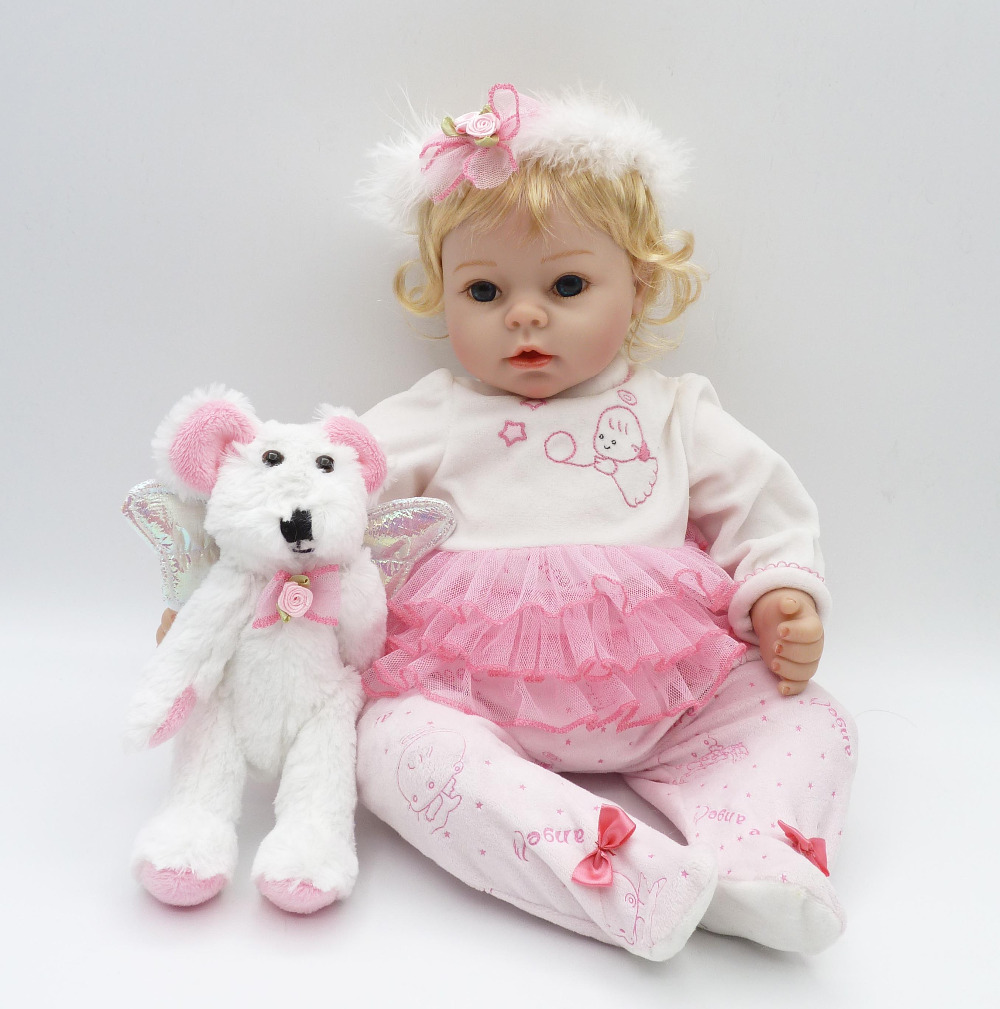 22 inch baby toys toys dolls 56 cm blond hair girl dolls toy silicone baby reborn dolls lifelike doll toys for children's gifts