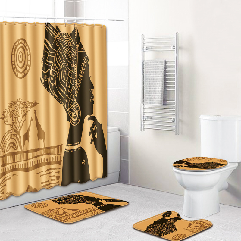 HTB1VdaLUwHqK1RjSZJnq6zNLpXa3 - American style African sexy curls woman pattern waterproof shower curtain bathroom with hook anti-slip mat toilet mat set
