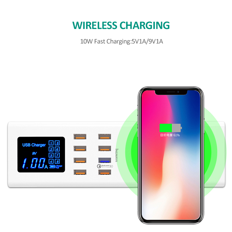 Chargeur iNGMAYA USB Charge rapide 3.0 Charge rapide pour iPhone XS Samsung Galaxy S9 Huawei P30 Pro Mi 9 QC3.0 adaptateur secteur blanc