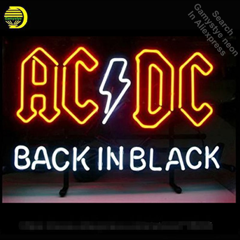 17*14 AC DC BACK IN BLACK outdoor NEON SIGN Signboard REAL GLASS BEER BAR PUB Billiards store display Restaurant Shop Signs