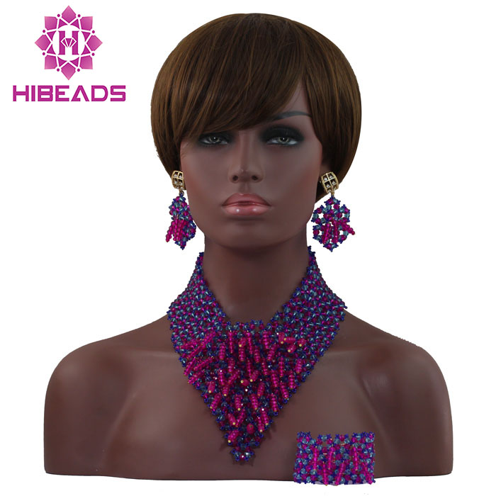 Wonderful Pink African Women Bridal Jewelry Set Blue Beaded Crystal Costume Fashion Bib Necklace Set Free Shipping WD346