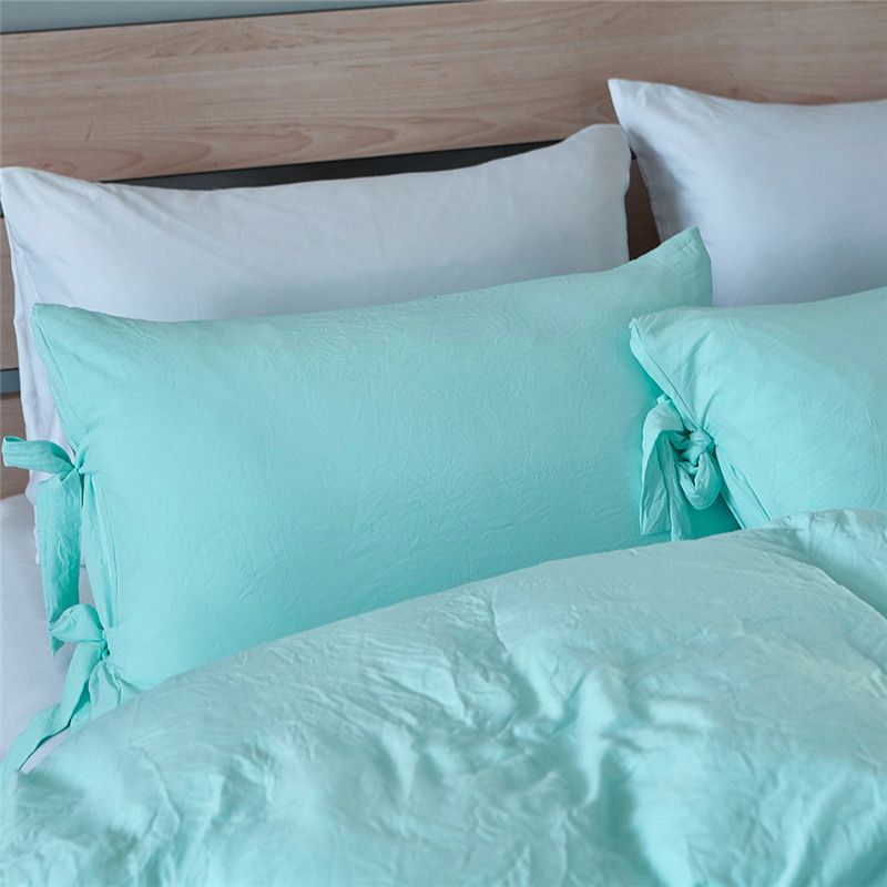 Bonenjoy Light Blue Bedding Set King Size Solid Color Duvet Cover With  Pillow Covers Single Washed Cotton Bedding Quilt Cover In Bedding Sets From  Home ...