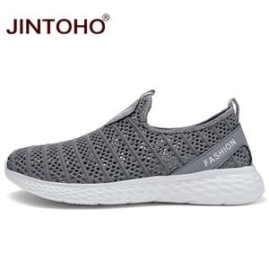 Image 4 - JINTOHO büyük boy yaz erkek ayakkabısı nefes erkekler Sneakers örgü erkek moda ayakkabılar rahat erkek ayakkabı üzerinde kayma erkek mokasen ayakkabıları