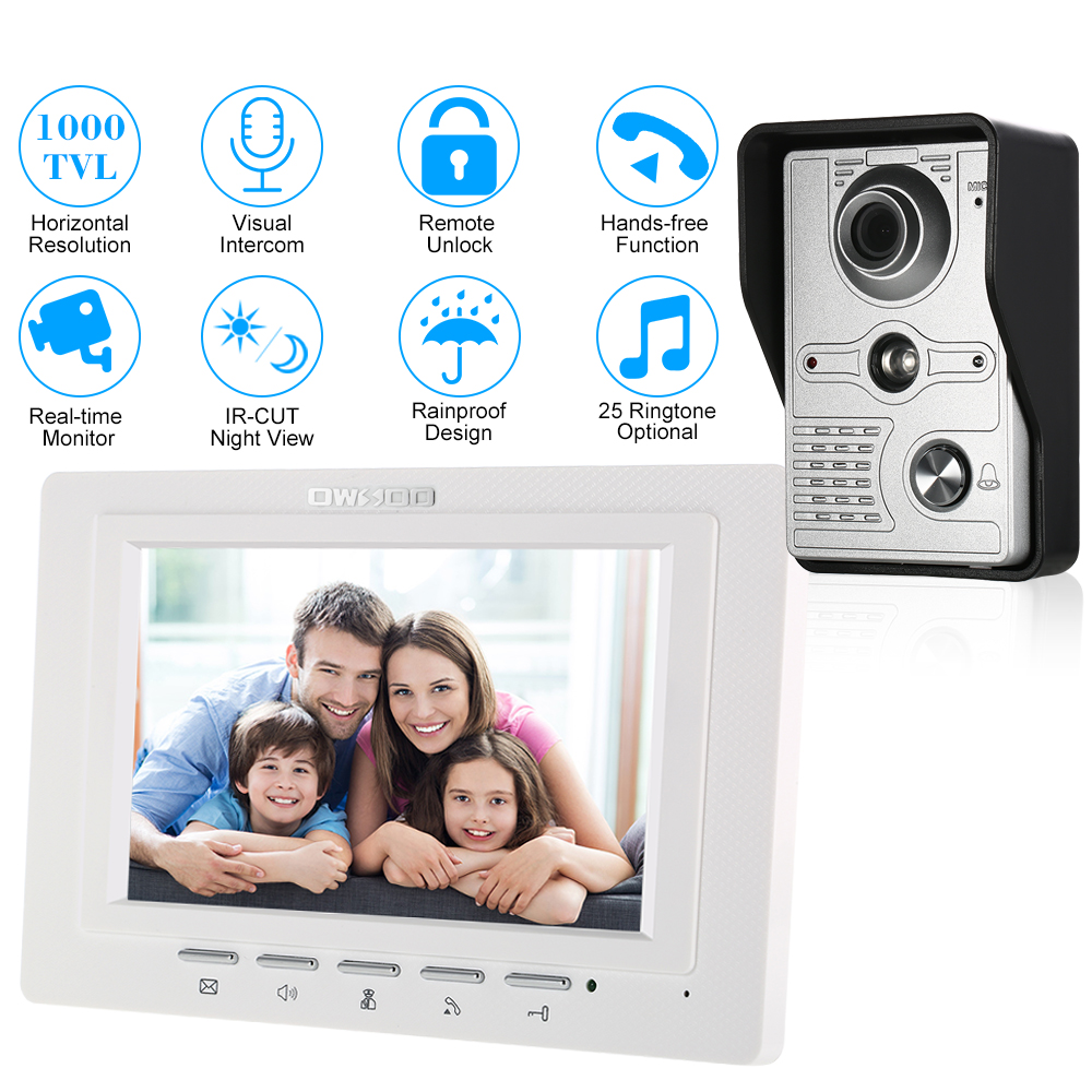 OWSOO 7 inch TFT LCD Wired Visual Video Intercom Video Door Phone Speakerphone Intercom System With