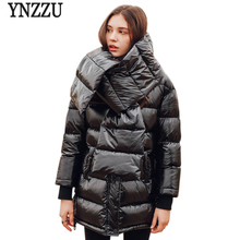 YNZZU 2018 New Winter Womens Down Jackets European Style Thicken Warm Coat Women High Quality with Scarf Parka O692