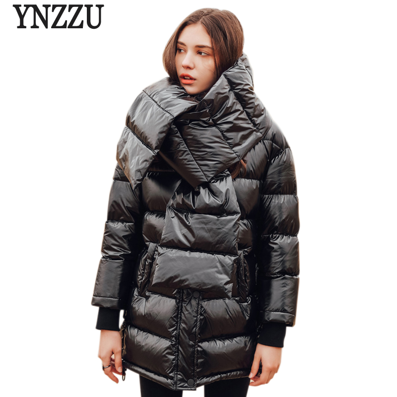 YNZZU 2018 New Winter Women's   Down   Jackets European Style Thicken Warm   Down     Coat   Women High Quality with Scarf Women Parka O692