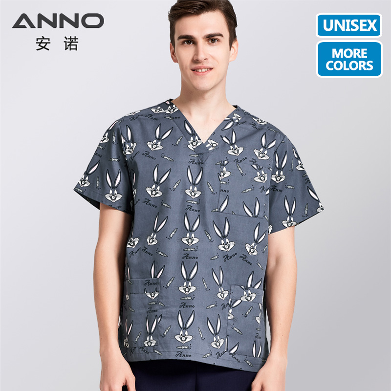 ANNO Grey Medical Scrubs Set  Cartoon Rabbit Nursing Uniforms Medical Clothing Dental Clinic Nursing Scrubs For Men Women