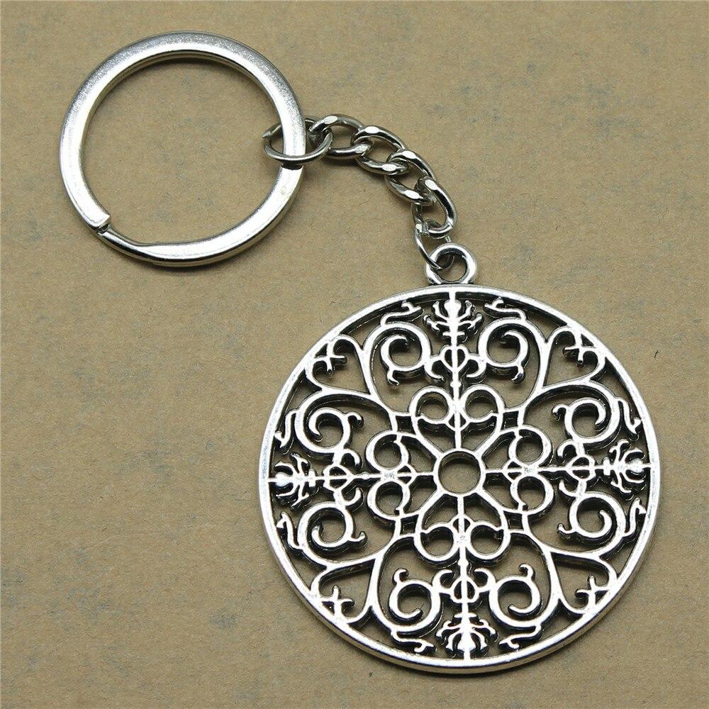 1 Stück Motor Keychain Mandala Muster Hochzeit Geschenke Für Gäste Souvenirs 49x44mm Anhänger Antike Silber
