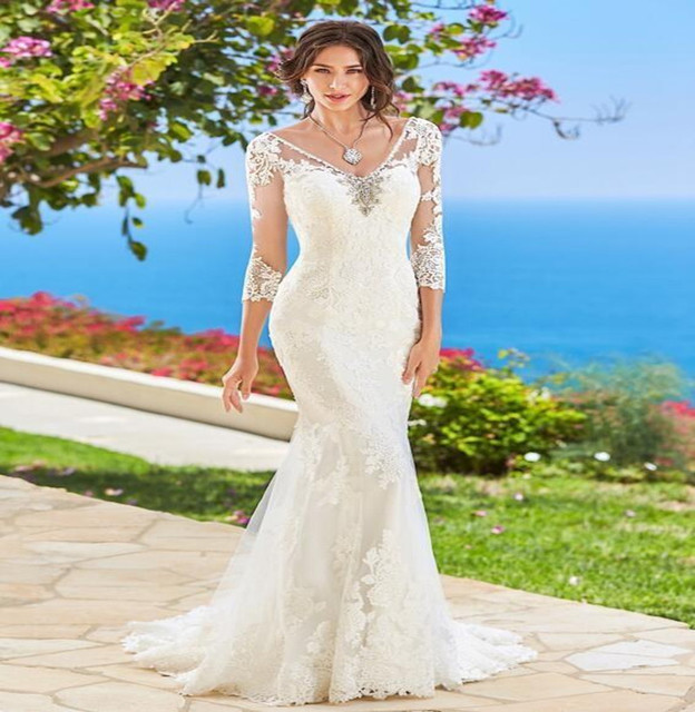 2016 Backless Beach Wedding Dresses Y V Neck Sheer 3 4 Sleeve Bridal Gowns With