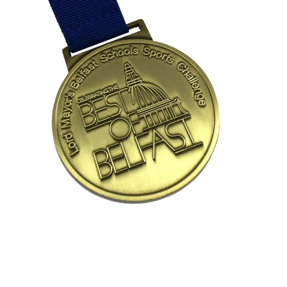 Medaille Custom Award Medaille 50.8mm (2 inch) diameter Medaille met Standaard Lint Antiek Messing of Antiek Zilver Medaille-in Non-valuta Munten van Huis & Tuin op  Groep 3