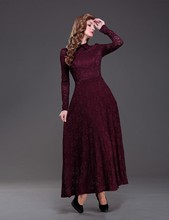 2016 Burgundy Wine Red Vintage Ankle Length Modest Lace Bridesmaid Dresses With Long Sleeves High Neck