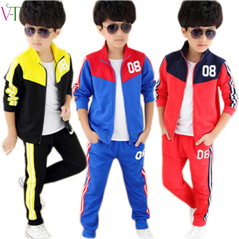 New spring 4 12 years zepper boys clothing sets teenagers