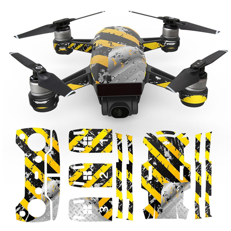MASiKEN PVC Waterproof Sticker Decals Skin Protector For DJI Spark Drone 5
