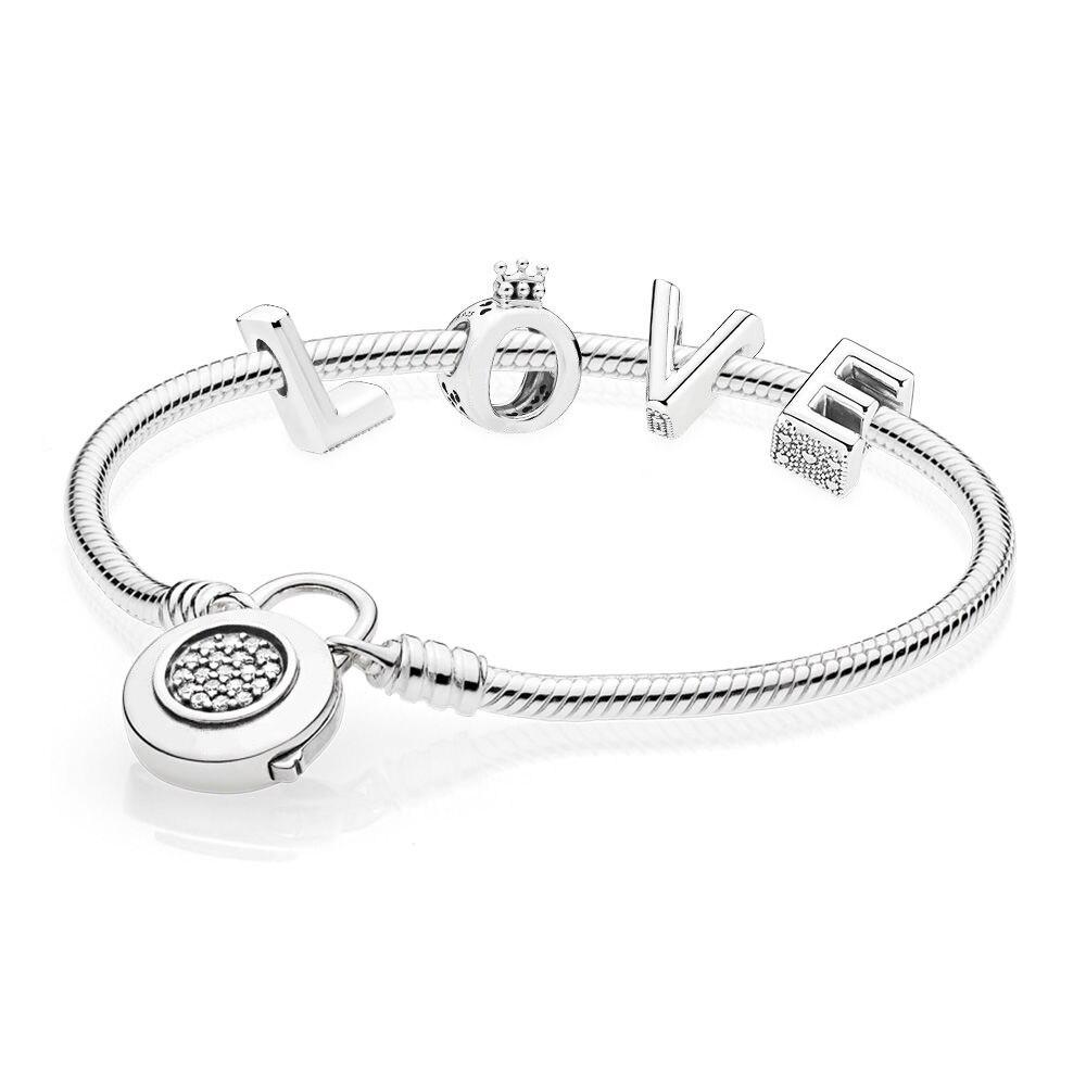 Original 925 Sterling Silver Lock Your Love Heart Pandora Bracelet Gift Set Jewelry for Women GiftOriginal 925 Sterling Silver Lock Your Love Heart Pandora Bracelet Gift Set Jewelry for Women Gift