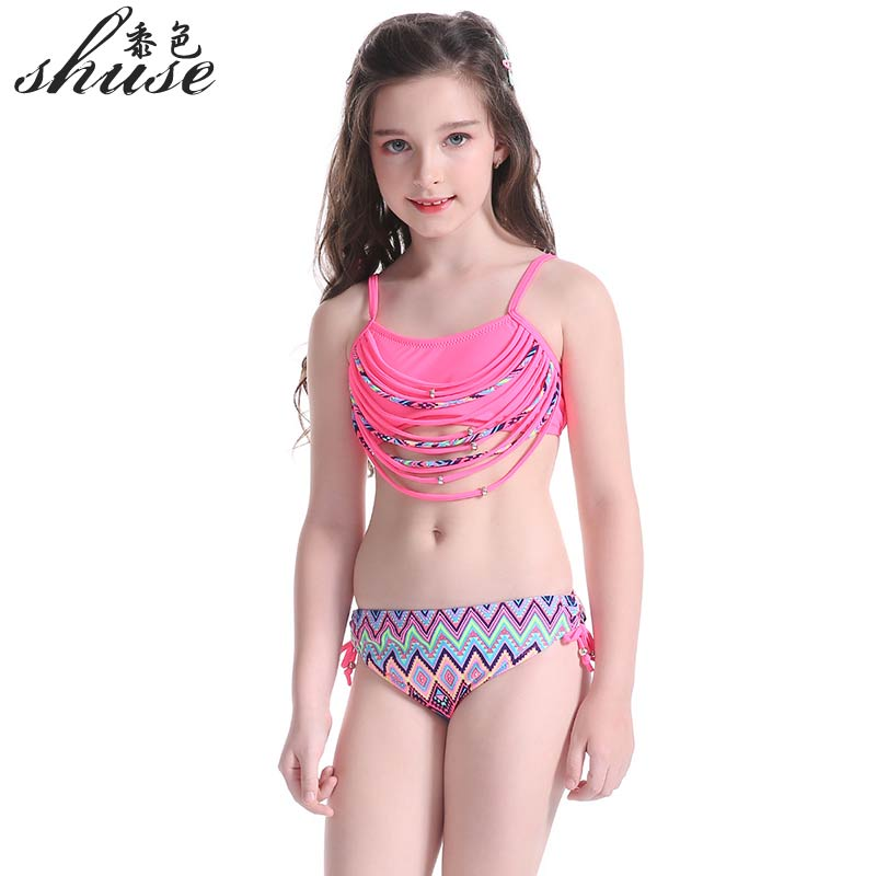2017 Latest Bikini Set Girl Children Swimsuit Children Swimming Wear Pink Bathing Suit Sexy Bikini Swimsuit Kids String Swimwear
