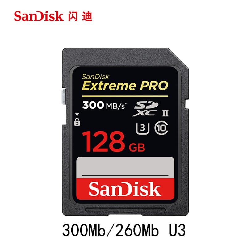 SanDisk 300MBS SD Carte pour Caméra 128 GB 64 GB 32 GB Carte Mémoire U3 Flash Carte pour Flash d'appareil photo Carte PC SDXC 2000X Haute Vitesse