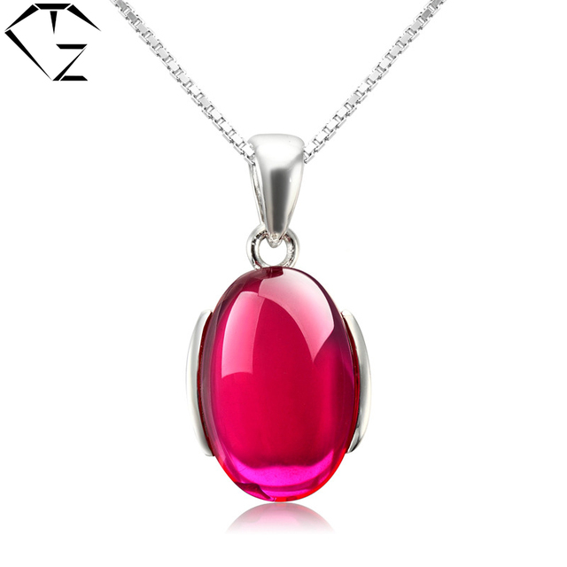 GZ S925 Solid Silver Corundum Pendants 100% Real Pure 925 Sterling Silver Pendant Necklaces for Women's Day Gift LP02