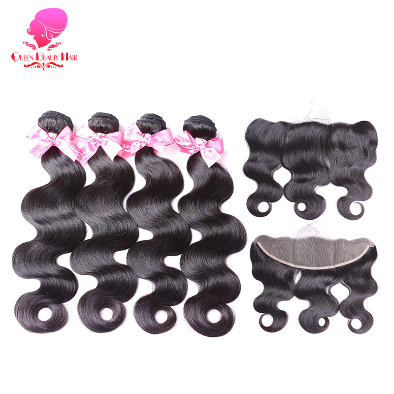 QUEEN BEAUTY 2 3 4 Remy Human Hair Weave Brazilian Body Wave Bundles with Lace Frontal