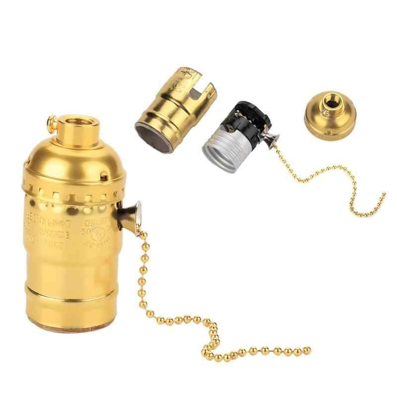 Lamp Base Vintage E27 Socket Holder with Pull Chain Bulb Light Lamp Lighting Holder Screw Base Light Fixtures Bulb Light