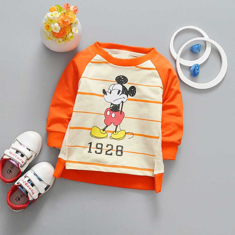 Spring-Children-clothing-girls-boys-babys-stripe-cartoon-Mouse-Letter-print-o-neck-long-sleeve-t-shirt-Y2041-2