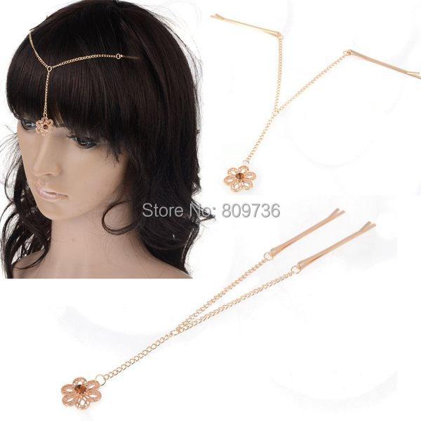 Chic Boho Wedding Bride Hair Pin Golden Tassel Hair Clip Flower Pendant Bindi Forehead Chains Indian Hairwear Accessories Gift