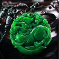 Pretty Natural GanQing Jadeite Lucky Pendant green Jade Hand-Carved PiXiu Double Face Amulet Pendants Necklace Fashion Jewelry