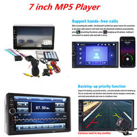 2 Din 7018B Car MP5 Player Audio Stereo FM Radio Bluetooth MP3 Player Support TF Multimedia Player with Camera