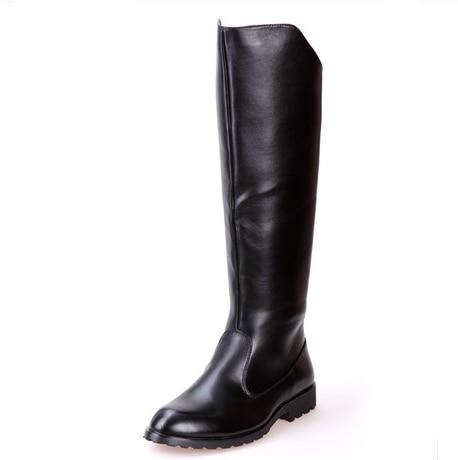 Bellissimo Solido Di Alta Stivali Mens Militare Nero Stivali In Pelle Di Mucca Naturale Degli Uomini Lungo Impermeabile Doposci Equestre Moto Stivali