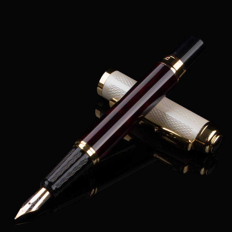 luxury Writing Fountain pen Full metal DIKA WEN 821 Silver Pen Golden Clip 0.5 mm medium Nib Business office supplies
