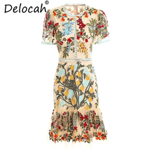 Delocah New Women Summer Dresses Runway Fashion Short Sleeve Flower Embroidery Hollow Out Collect Waist Vintage