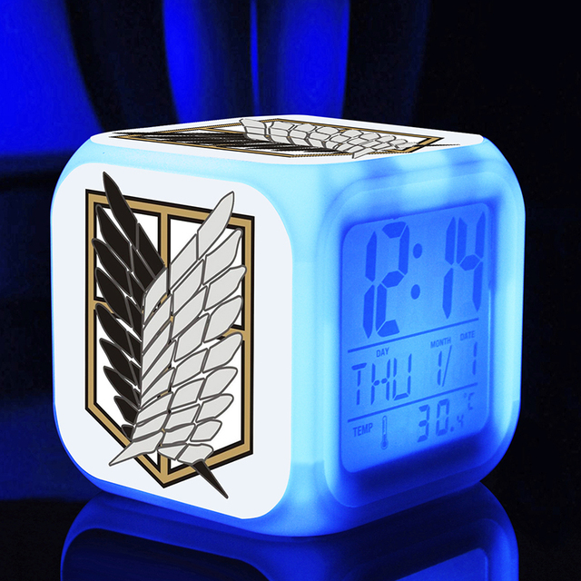 Attack On Titan 7 Colors Change Digital Clock