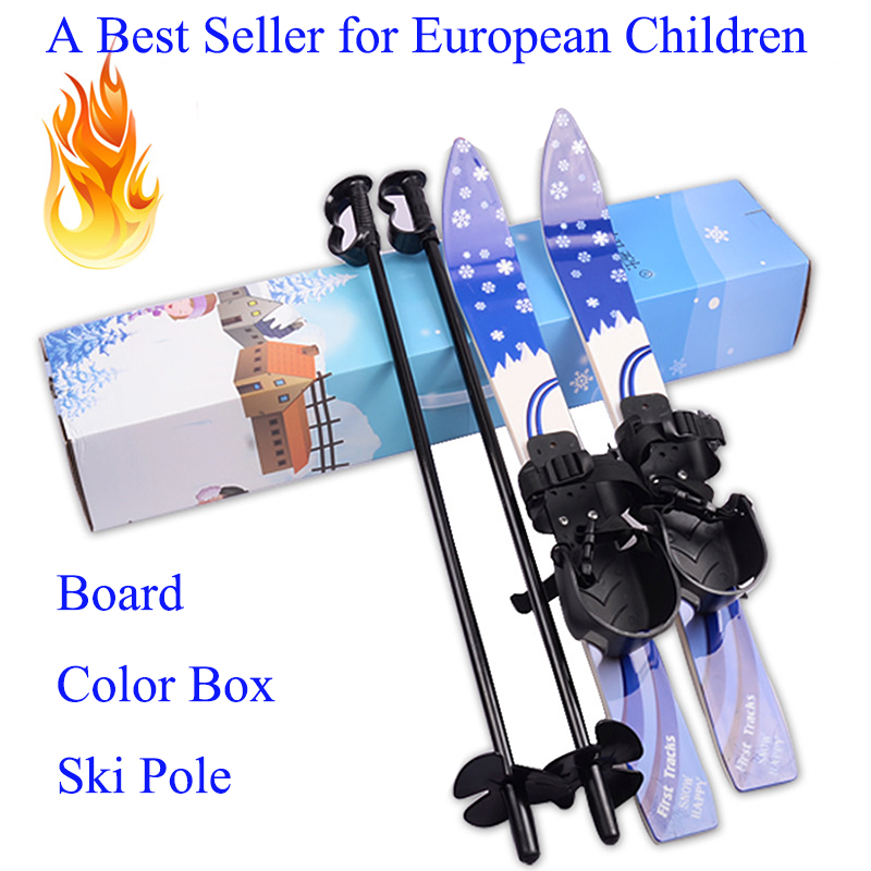 26Inch ABS Tightly Fixed Anti-cold Childrens Freeride Snowboard Safe Walking or Running Snowshoes Skiing Board with Iron Poles