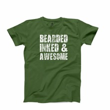 2018 Summer T-Shirt Fashion Summer Short Sleeve Cotton Bearded Inked And Awesome T-Shirt Bearded Man Valentine`S Gift Tee Shirt