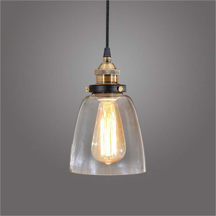 Nordic extreme simplicity retro personality Industrial creative restaurant bar aisle bell-shaped glass chandelier Free Shipping nordic edison led glass chandelier glass colour hanglamp creative personality dining cafe aisle retro study lamps