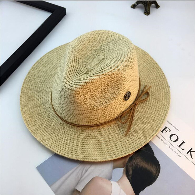 Straw summer hats for women ladies England style M letter beach sun hat  wide brim men fashion fedoras jazz hat bucket hats caps 9729ae517ccb