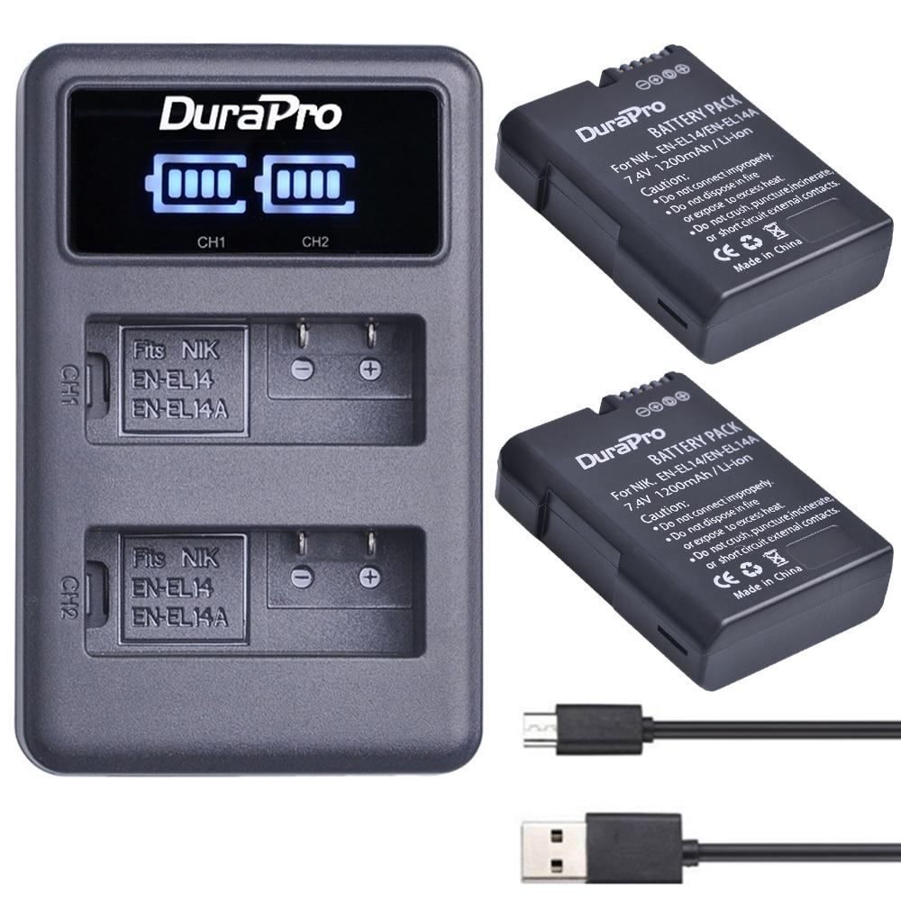 2 Unid EN-EL14 es EL14 EL14A batería recargable de Li-Ion + LED cargador Dual USB para Nikon ENEL14 d5300 d5200 d5100 d3100 d3200 P710