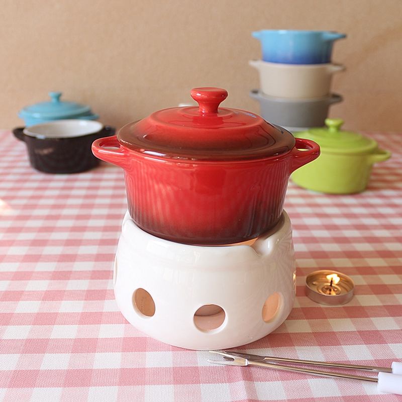 Mini Candle Stove: 220ml Mini Candle Stove Ceramic Fondue Pot Chocolate