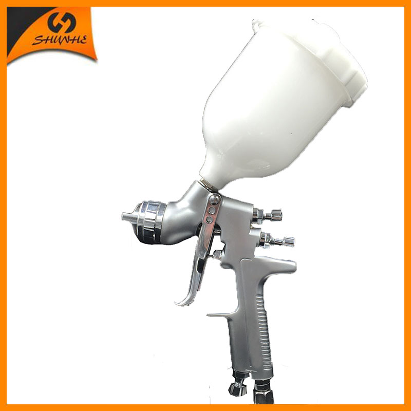 SAT0077 high pressure  spray gun nozzle professional paint sprayer lvmp car painting gun nozzle 1.3 paint spray gun 1 5mm nozzle gravity 400ml cup stainless steel high pressure painting gun