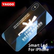 Yagoo Smart Led Glow Phone Case For iPhone XS MAX Cover Apple XR Funda Luxury Silicone TPU Gun Cool Glass Capa