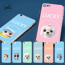 hot deal buy fashion lucky dog pink cat coque for iphone 7 case for iphone xs max case cover for iphone 6s case 7 plus 5 5s se 8 6 7 x cases