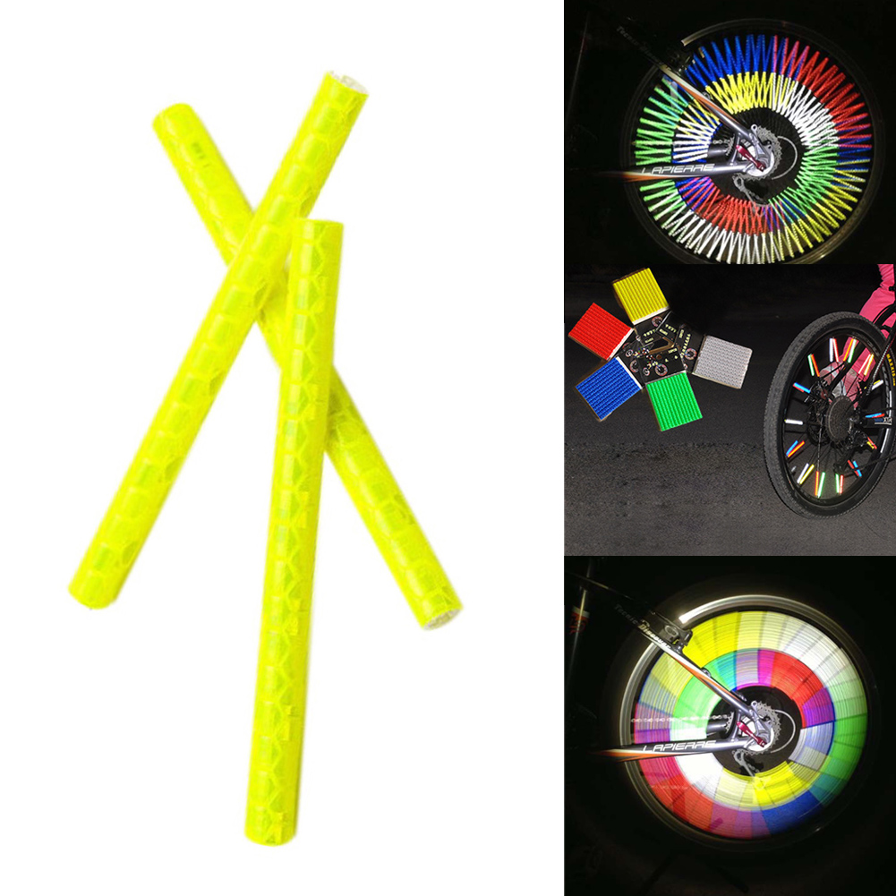 12PCS/Set 73mm MTB Bicycle Spokes Warning Reflective Tube Clip Light Moutain Road Bike Safe Cycling Wheel Reflective Rim Steel