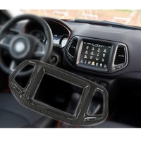 Carbon Fiber Vein Center Console GPS Panel Frame Cover for 8.4 inch Only Car Sticker for Jeep Compass 2017 Onward Accessories