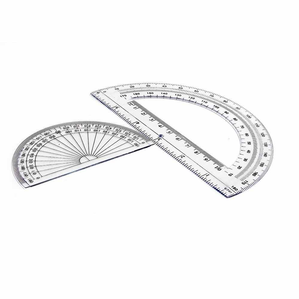 2+2 Pack Plastic Protractors 180 Degrees, 6 Inches and 4 Inch, Clear