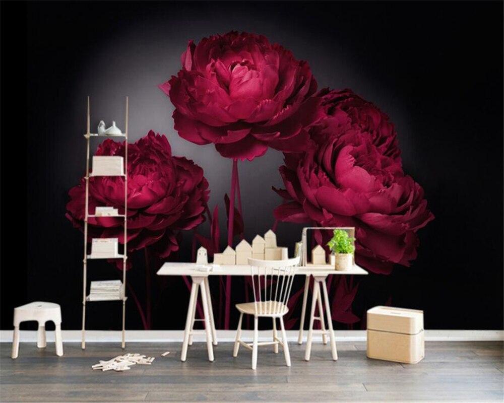 beibehang custom wallpaper modern tv background wall romantic red rh aliexpress com red rose homes padiham red rose homes padiham