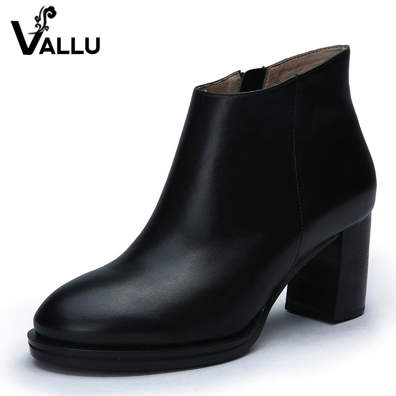 2018 Women Boots High Heel Platform Genuine Leather Ankle Boots Cow Leather Chunky Heels цена