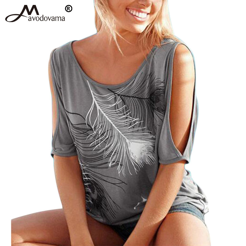 AVODOVAMA M Women Summer O Neck Solid 6 Color   Blouse     Shirt   Casual Feather Short Sleeve Sexy Hole Off Shoulder Tops Plus Size