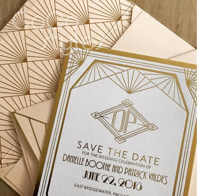 Gatsby Wedding Invitations   Cocostyles Personalized Luxury Gold Foiling Printing Design