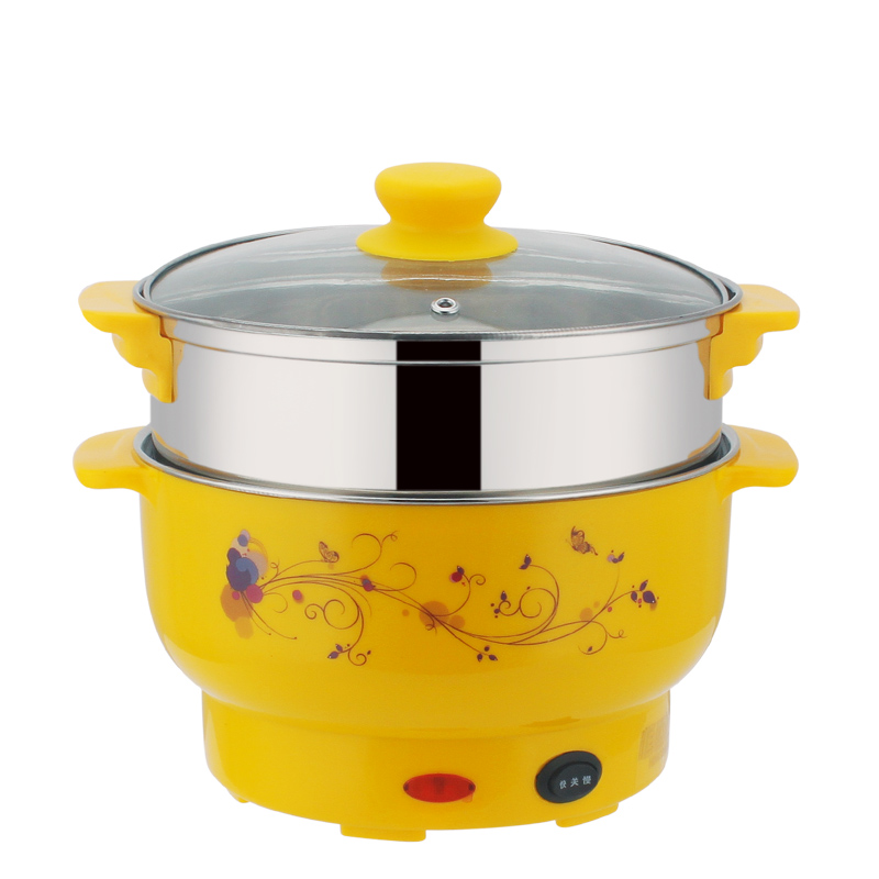 Électrique vapeur 3-4 personnes Coréen multi-but Électrique chaudière 4L Électrique Hot pot viennent avec en acier Inoxydable vapeur 26 cm