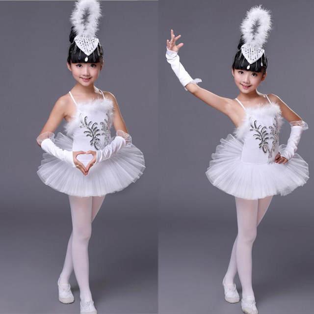 128f55975 Online Shop White Color Kids Sequined Swan Lake Pancake Ballet Tutu ...