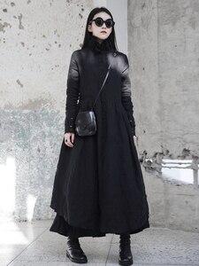 Image 5 - [Eam] 2020春の新作冬フリル襟長袖黒不規則なビッグ裾フォールロングドレス女性ファッション潮JI098